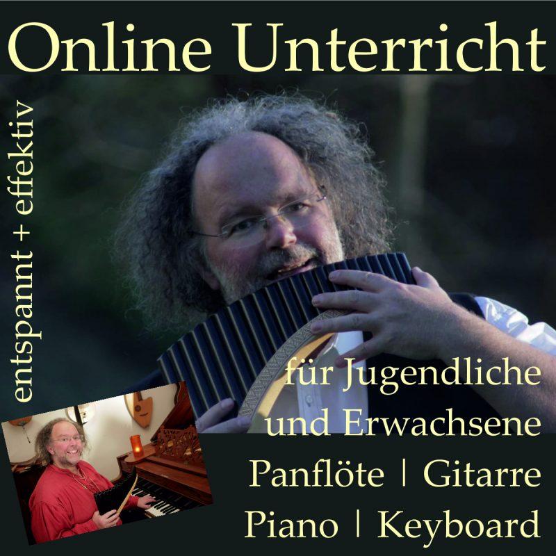 Online Unterricht für Jugendliche und Erwachsene auf Panflöte, Gitarre, Piano und Keyboard - bei Andreas Schuss, effektiv & entspannt,